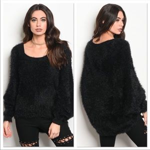 Sweaters - NEED GONE🔥Super Soft Fuzzy Black Sweater